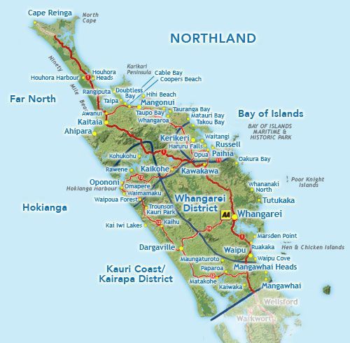 Northland New Zealand Map.Northland Map Search New Zealand Accommodation What To See Do