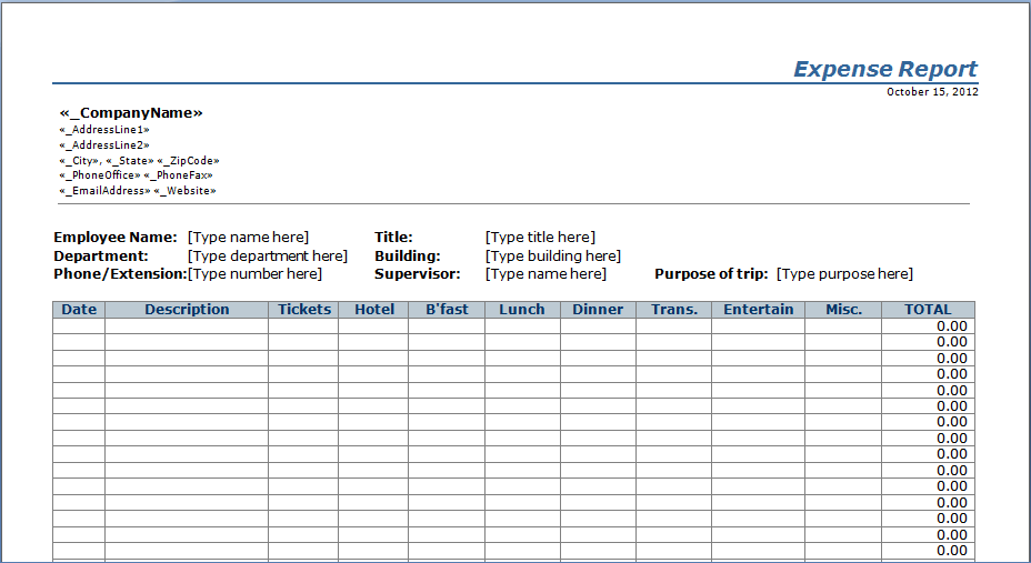 expenses sheet sample