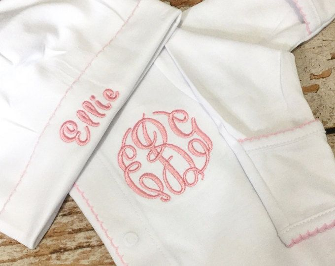 Monogrammed girls baby gown girls hospital outfit monogrammed baby girl coming home outfit monogrammed footie personalized baby gift monogrammed sleeper negle Images