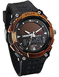 be4171835458 JewelryWe Reloj Deportivo Energía Solar Reloj de Hombre Digital Para Aire  Libre A Prueba de Agua 5 ATM