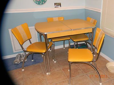 Vintage 1950\'S Chrome Yellow Formica Kitchen Table 4 Chairs using ...