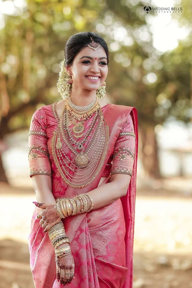 Real Brides Style Get Inspired From Real Bride Priyanka Wedding Saree Blouse Designs Wedding Blouse Designs Bridal Sarees South Indian
