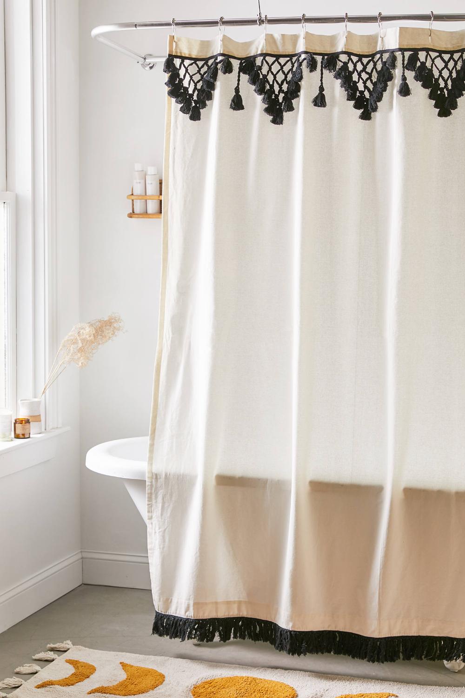 Topanga Fringe Shower Curtain In 2020 Bathroom Shower Curtains Boho Shower Curtain Bathroom Remodel Shower