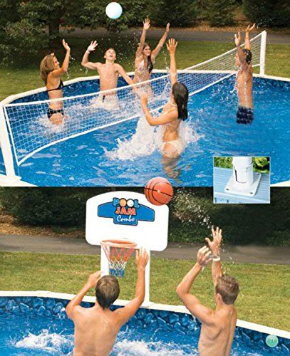 Pool Jam Combo Basketball And Volleyball Above Ground Swimming Pool Game Be Sure To Check Out This Awesome Pool Games Swimming Pool Games Pool Volleyball Net
