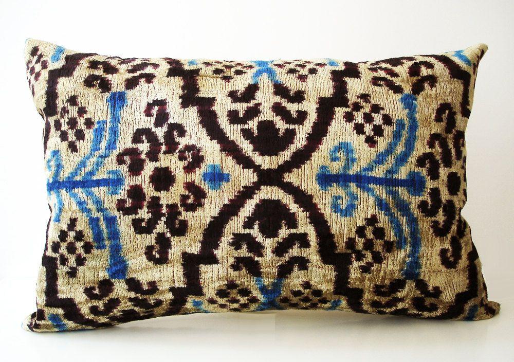 Sukan / SALE -Silk Velvet Ikat Lumbar Pillow Cover Decorative Pillows Accent Pillow Cushion Covers. $69.95, via Etsy.