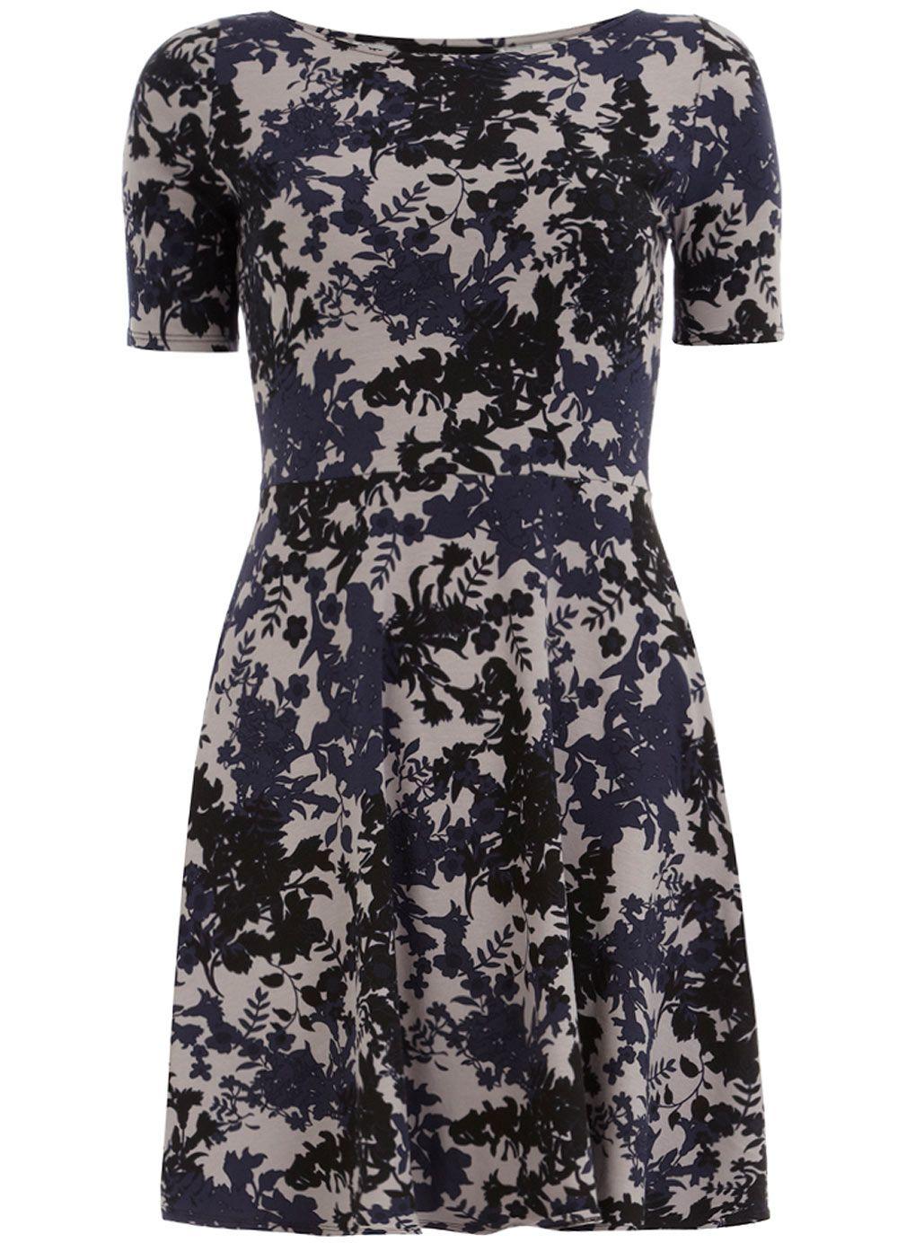 Grey floral print flare dress  #DorothyPerkins