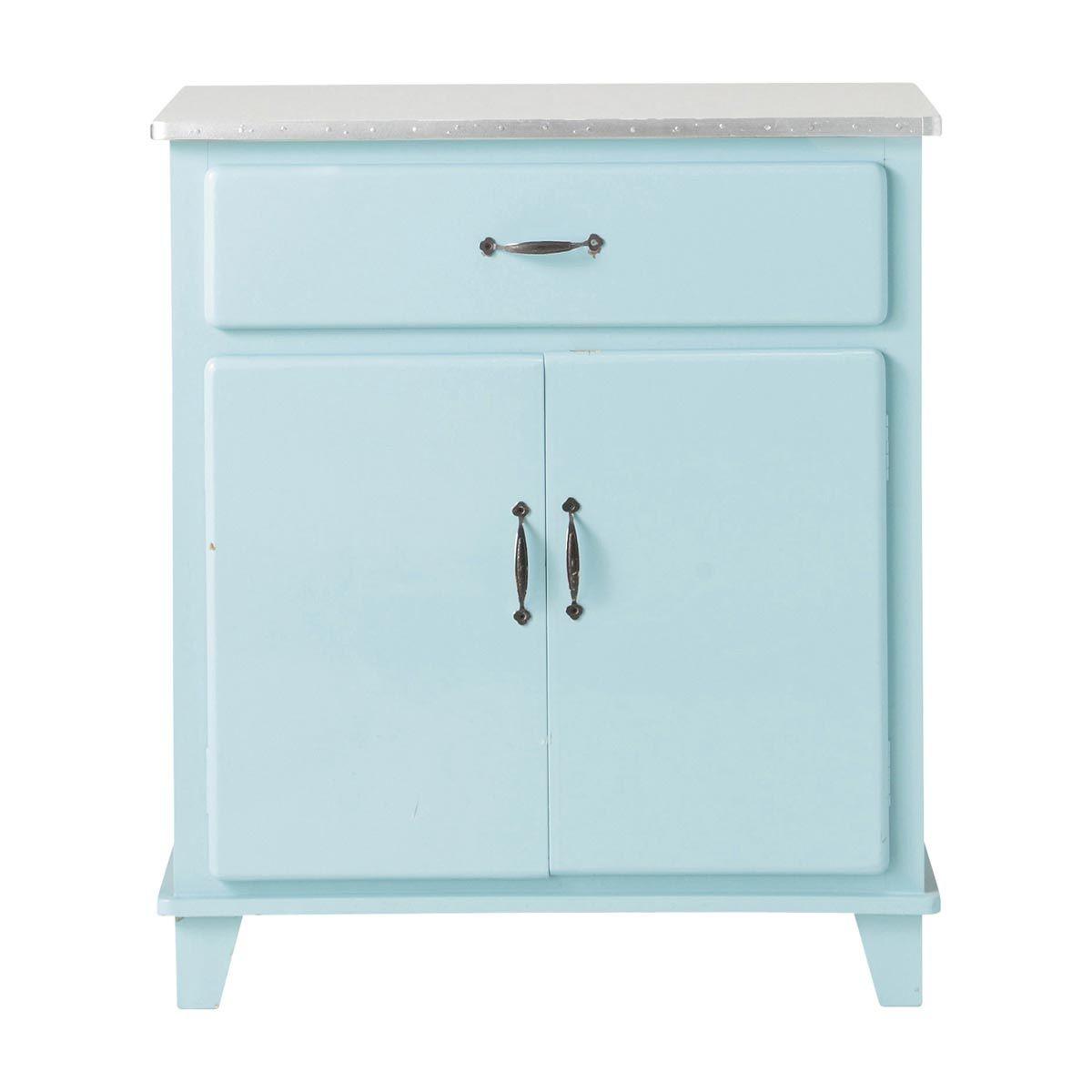 Buffet de cuisine vintage en bois bleu L 73 cm Kitchen | Maisons du ...