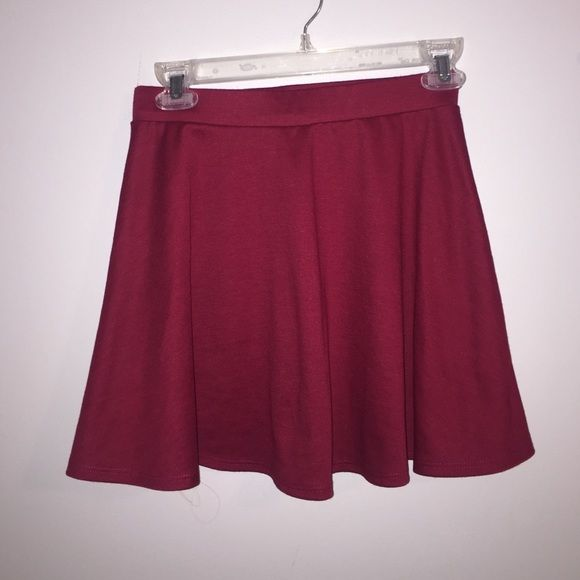 burgundy maroon red skater skirt red burgundy maroon skaters skirt. perfect for fall with leggings or tights. Charlotte Russe Skirts Circle & Skater