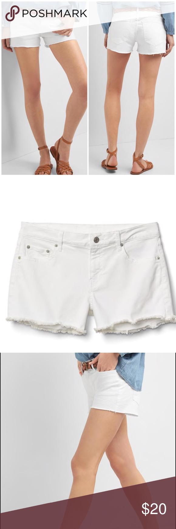25d3cb2ab8 Gap 1969 white raw hem Denim shorts cut offs These Gap 1969 white denim cut  off