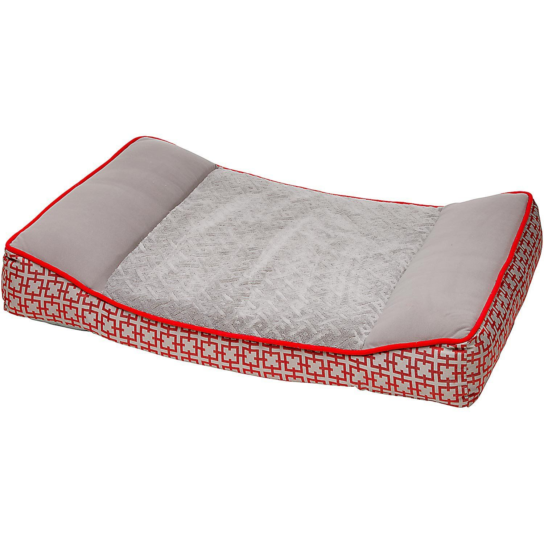 Petco Orthopedic Red Gray Dog Bed 40 L X 30 W X 6 5 H Petco Store Grey Dog Bed Grey Dog Red Dog Bed