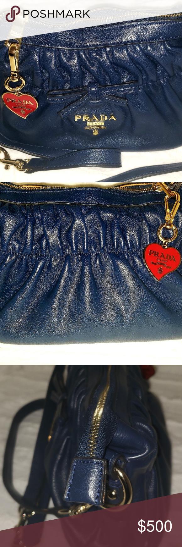 Photo of Prada Leather Handbag ~ NWOT Zipper main compartment  Gathered detail Double det…