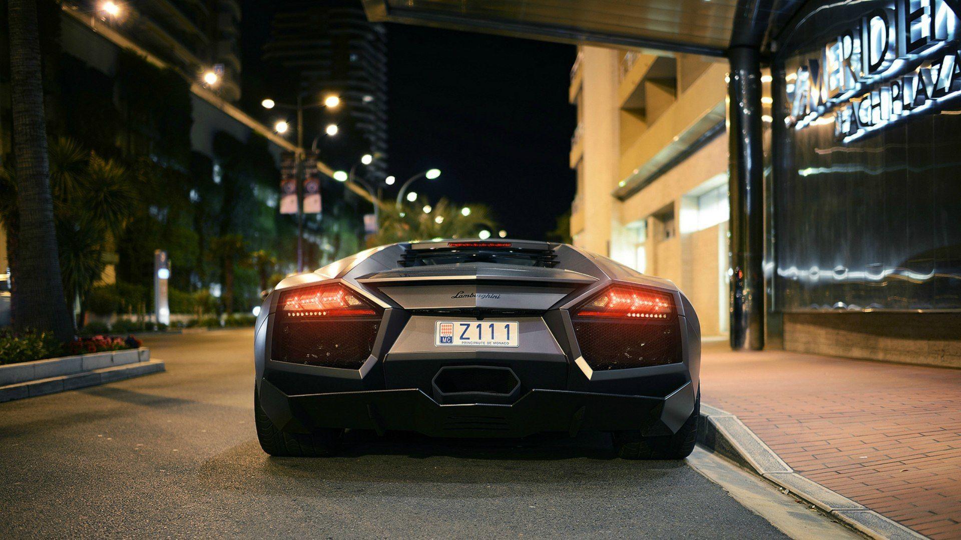 Lamborghini Black Matt Car Night City Wallpaper Http