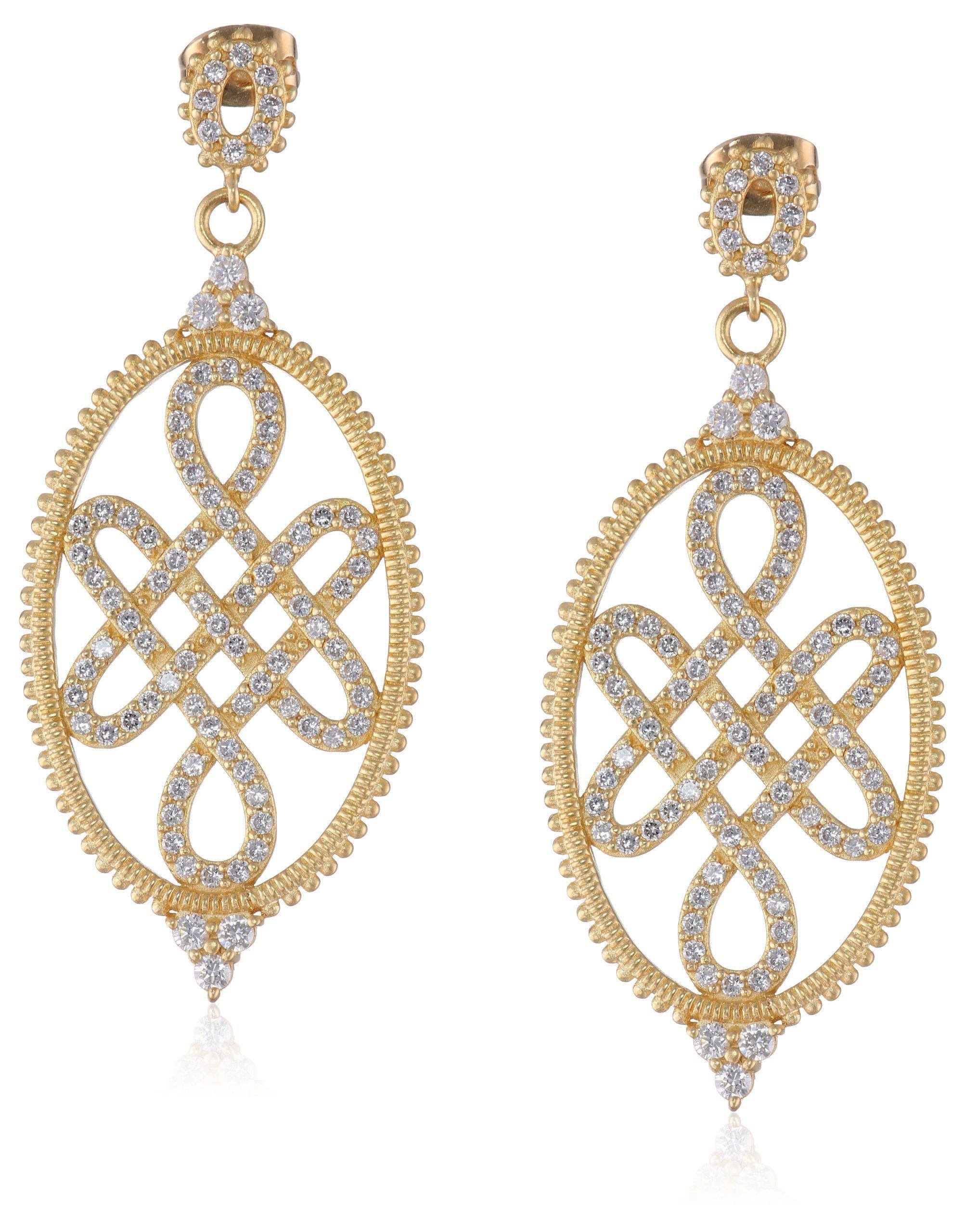 "Freida Rothman ""GRAMERCY"" Large Gold Love Knot Drop Earrings"