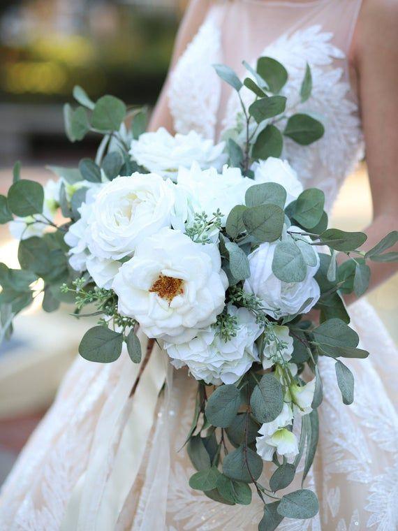 Cascading Bridal Bouquet, White Wedding Bouquet, White Garden Rose Eucalyptus Bridal Bouquet and Boutonniere Set