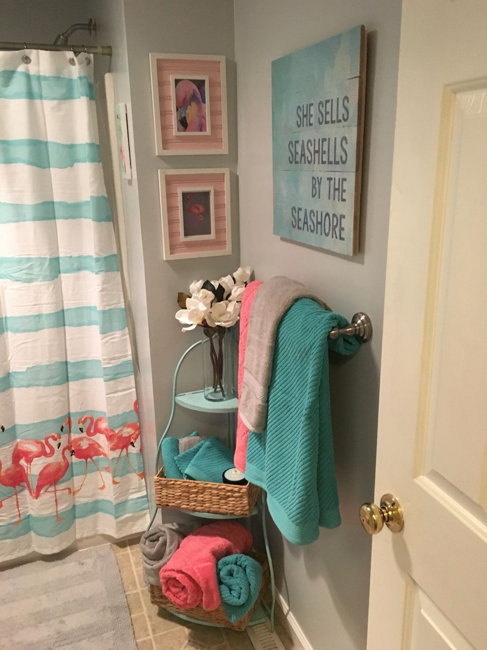Bathroom Remodel Flamingos Pink Aqua Blue And Gray With Images