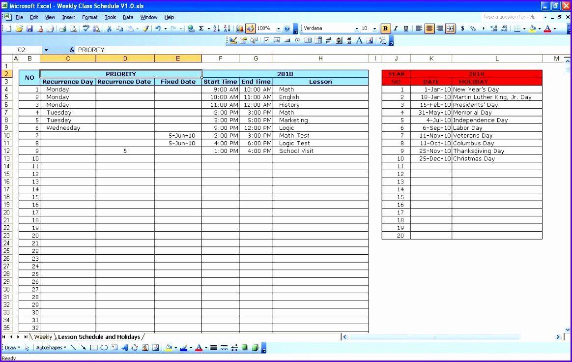 30 Excel Class Schedule Template In 2020 Class Schedule