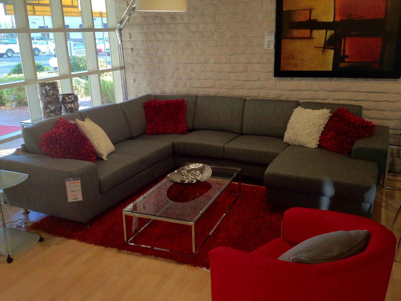 Another version grey couch red accent downstairs family Red and grey sofa