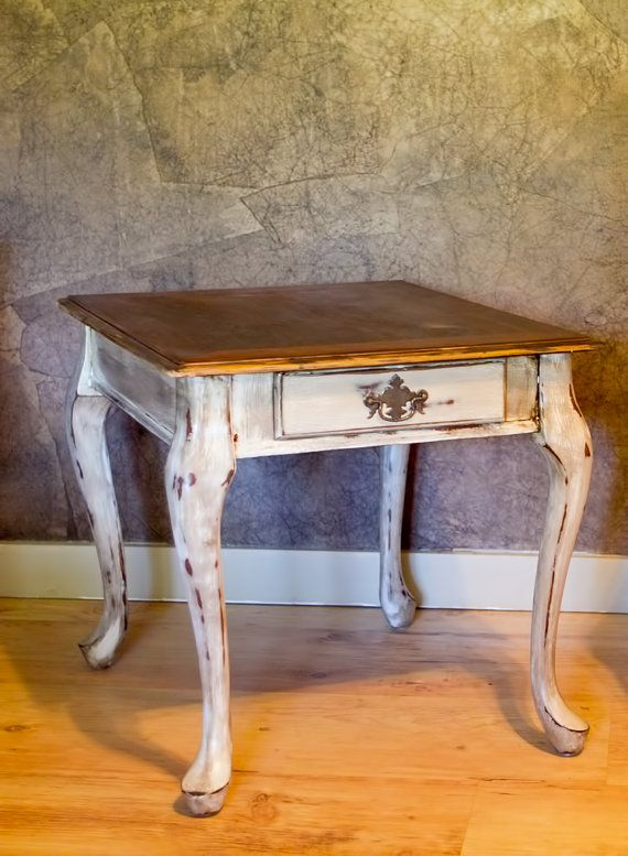 painted queen anne sofa table fabric sofas for living room distressed style end by 2ndhandcowgirl on etsy 60 00