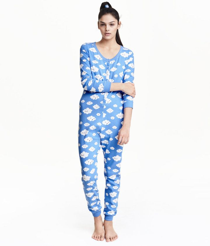 H M One-piece pajama with clouds  616a463b88c38