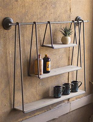 Wood And Metal Triple Hanging Shelf Diy Hanging Shelves Hanging