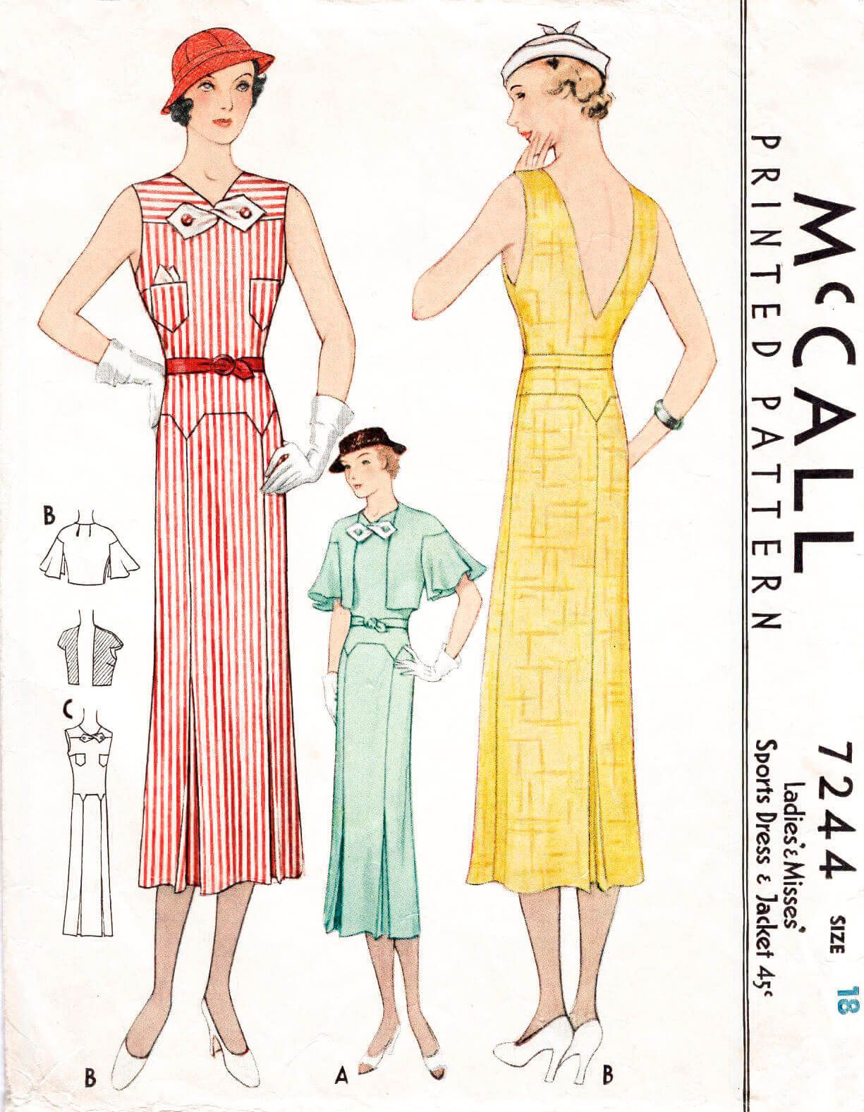 30s 1930s dress vintage women\'s sewing pattern reproduction ...
