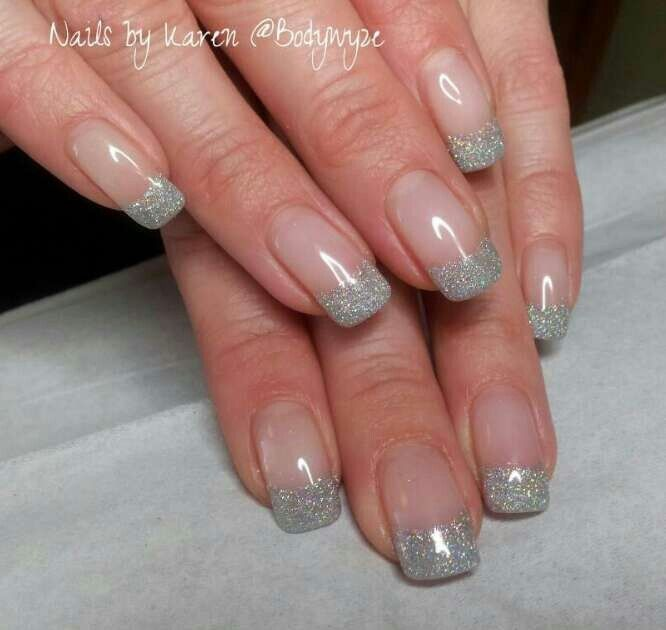 French Gel Manicure With Glitter Silver Glitter French Manicure In Bio Sculpture Gel French Manicure Silver French Manicure French Manicure Acrylic Nails