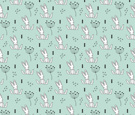 Adorable little baby bunny geometric scandinavian style rabbit for kids gender neutral mint fabric by littlesmilemakers on Spoonflower - custom fabric