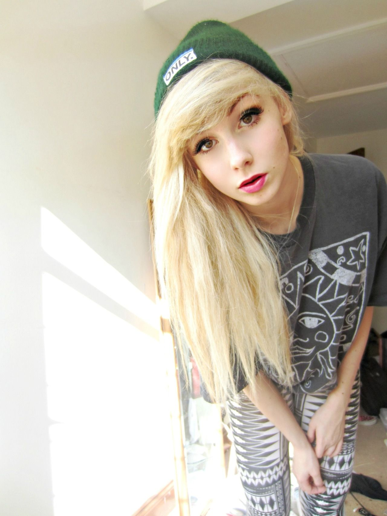 Flawless pretty tomboy style blonde beanie alternative fashion
