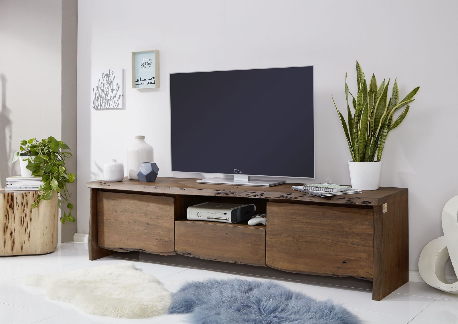 Tv Board Akazie 191x45x50 Braun Lackiert Live Edge 802 Tv