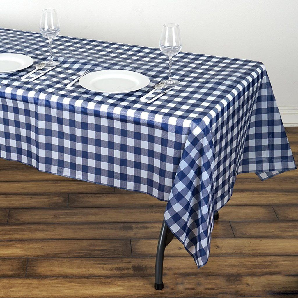 Buffalo Plaid Tablecloth 54 X 108 White Navy Rectangular Spill Proof Tablecloths Disposable Checkered Plastic Vinyl Waterproof Tablecloths In 2020 Plastic Table Covers Plastic Tables Affordable Table