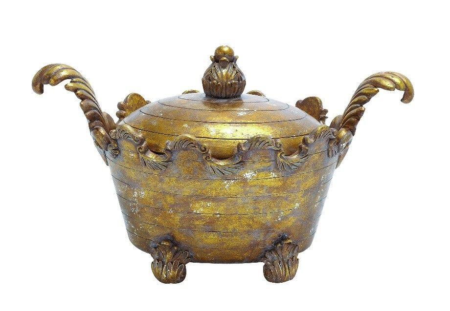 Container in Gold Finish with Solid Design | Furniture, home decor, wall decor, rugs, lamps, lighting outlet.