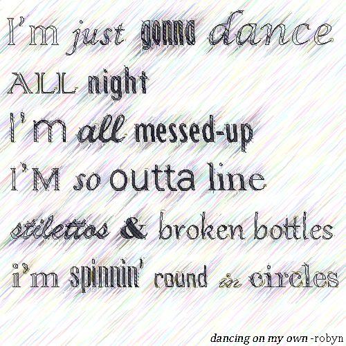 Dancing on my own lyrics robyn