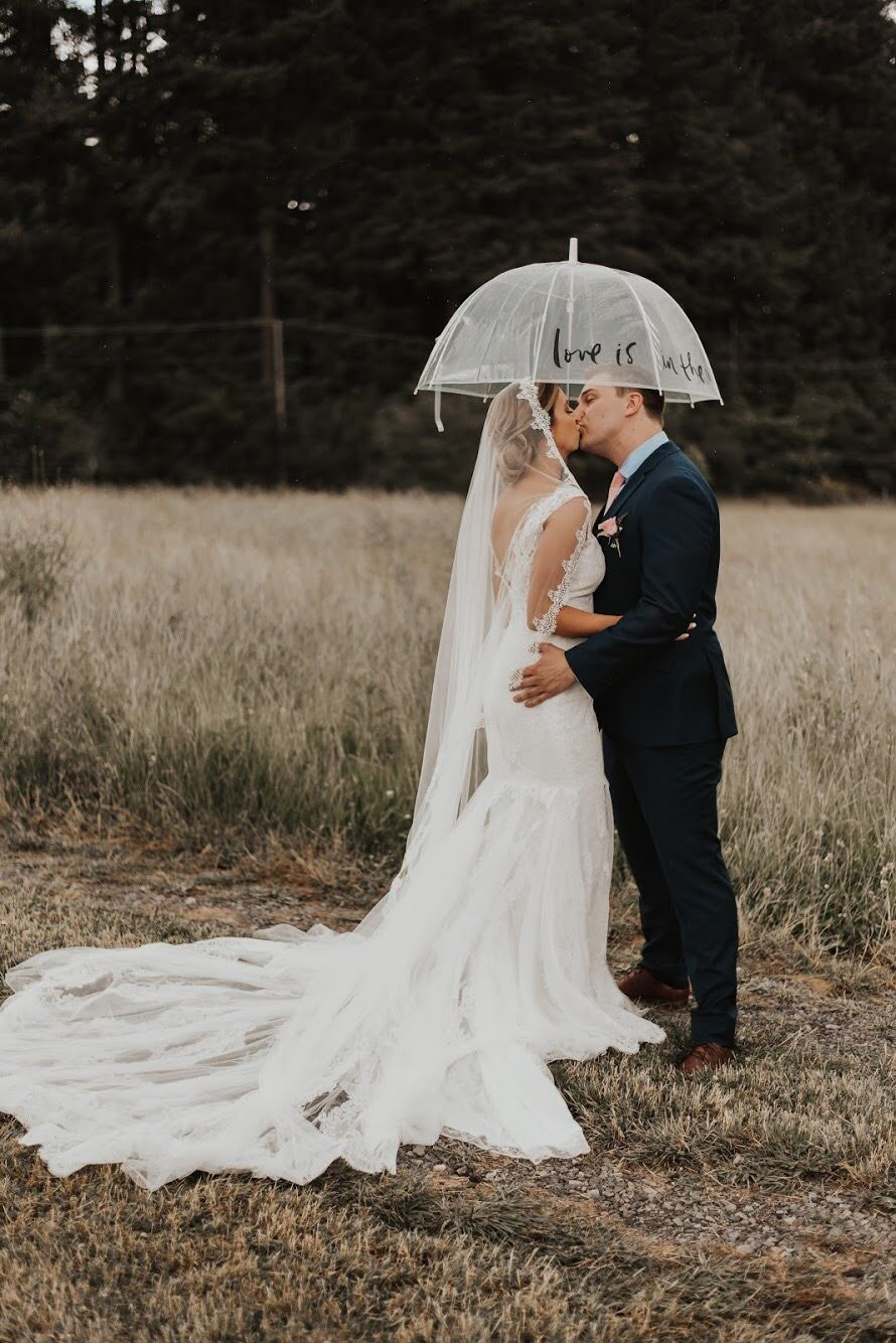 Hannah Brooke Photography Wedding Bridesmaids Dresses Blue Rainy Wedding Wedding Dresses