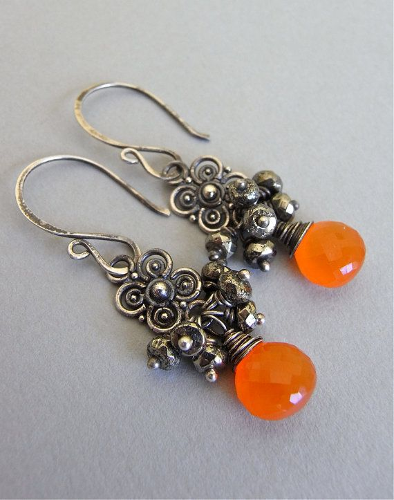The Spice earrings warm bronze pyrite and vibrant orange carnelian