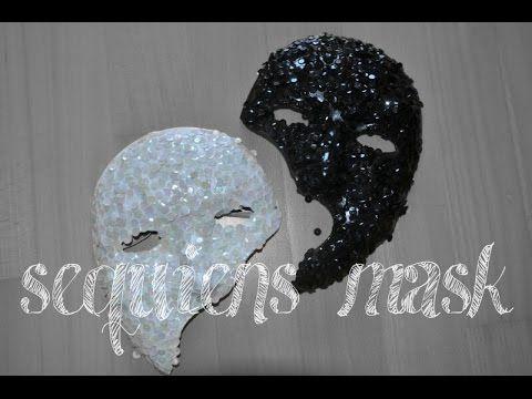 Schwarze und weiße Pailleten Halbmasken DIY Phantome of the Opera inspir...