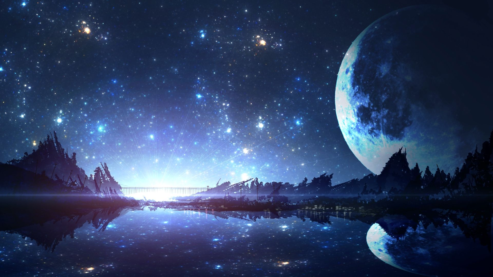 Fantasy Landscape Moon Reflection River Artwork Stars Painting Fantasy Landscape Fantasy Art Landscapes Anime Wallpaper