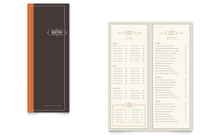 Bistro and Bar Take-out Brochure Template Design by StockLayouts - bar menu template