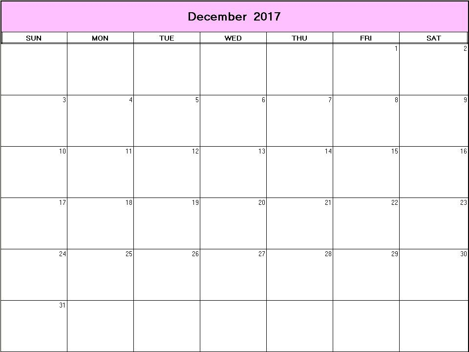 Printable Blank Calendar Image For December   Favorite Places