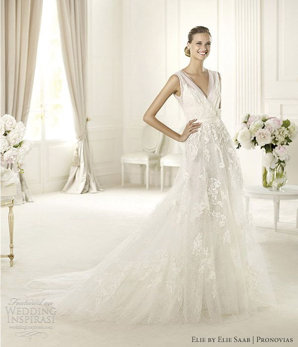 elie by elie saab 2013 pronovias simone sleeveless v neck wedding dress