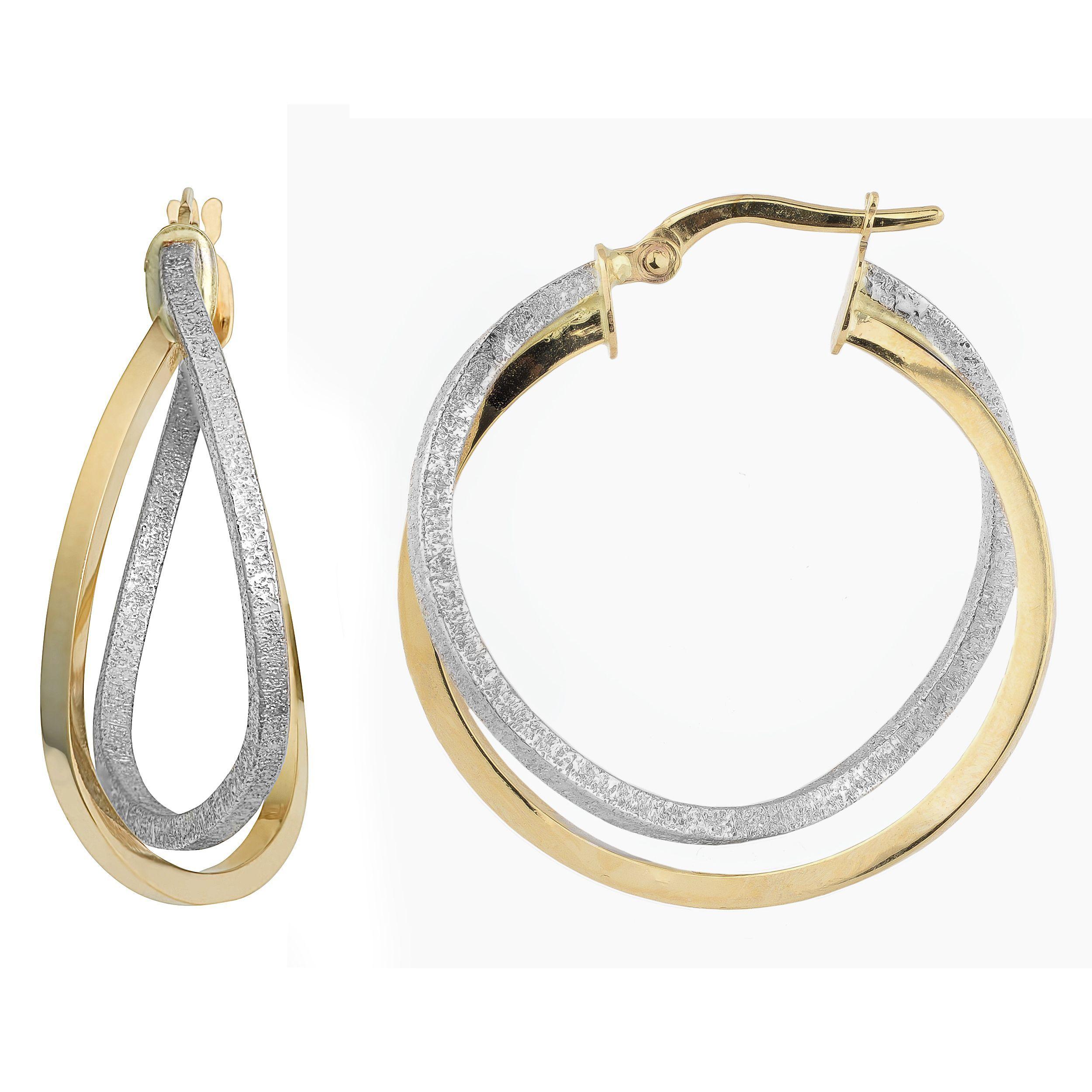 Fremada 10k Gold Overlapping Double Hoop Earrings