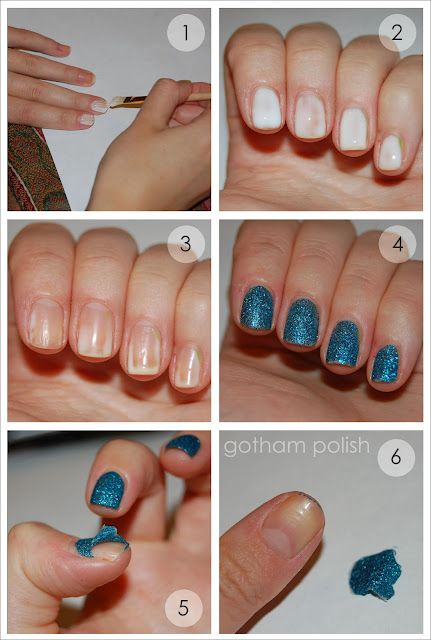 Here S The Scoop Paint A Generous Coat Of Pva Glue On Your Nails Aka Elmer Let Dry It Will Turn From White To Clear Put Glitter Polish