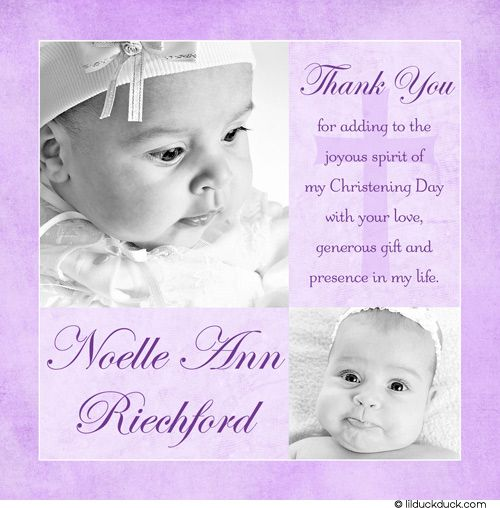 Modern Pink Christening Photo Thank You Card Design Photo
