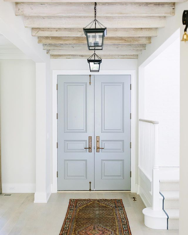 Foyer Double Door : In the middle of week foyer beams and a double front