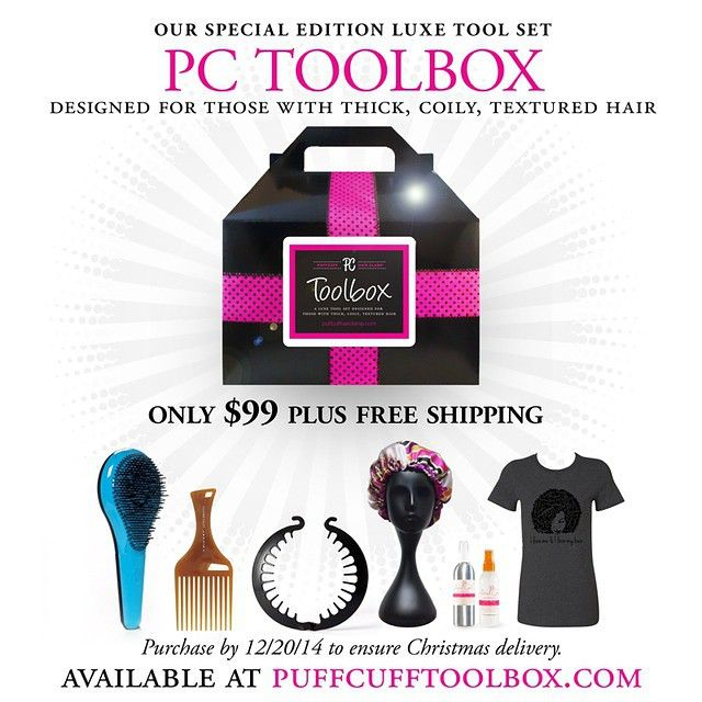 Give the perfect gift for the #NATURALISTA in your life. Especially if she is your girlfriend, best friend, sister, mother or #WIFE! The #PCToolbox, A LUXE TOOL SET for those with thick, coily, textured hair is a gift sure to be remembered. To order go to puffcufftoolbox.com. Order by 12/20 to ensure #Christmas delivery. There are only so many of these toolboxes available. FREE SHIPPING will not last forever (US CUSTOMERS ONLY).