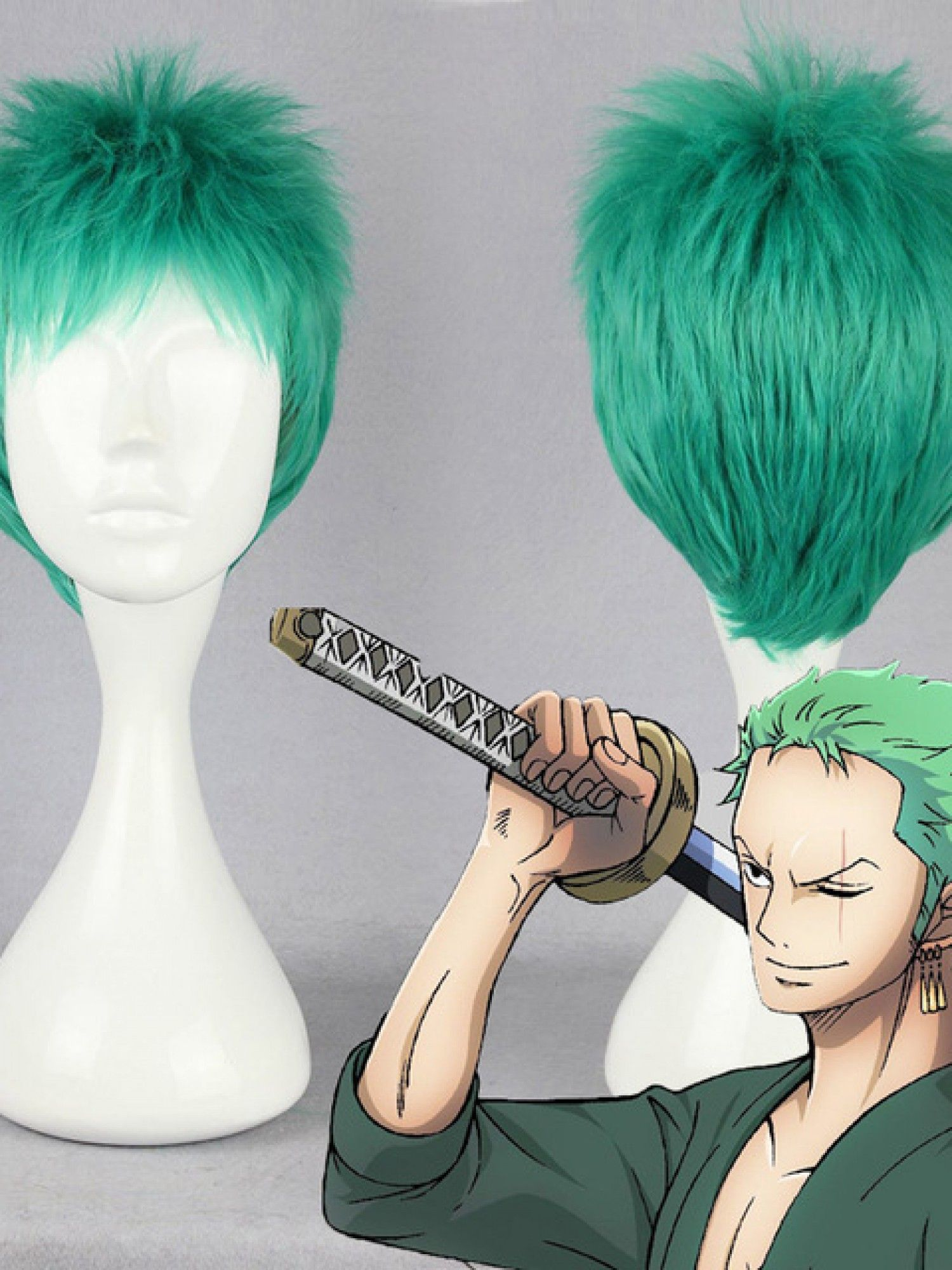 Anime name one piece compose of green short straight