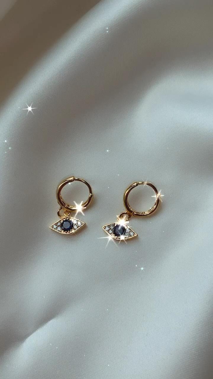24K Gold Blue Velvet Earrings