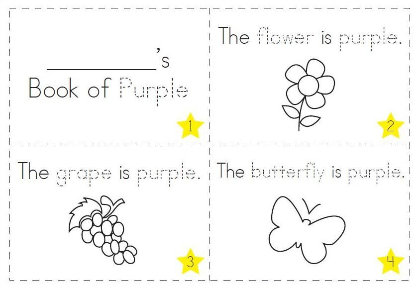 Purple Coloring Page Learning Colors Color Worksheets For