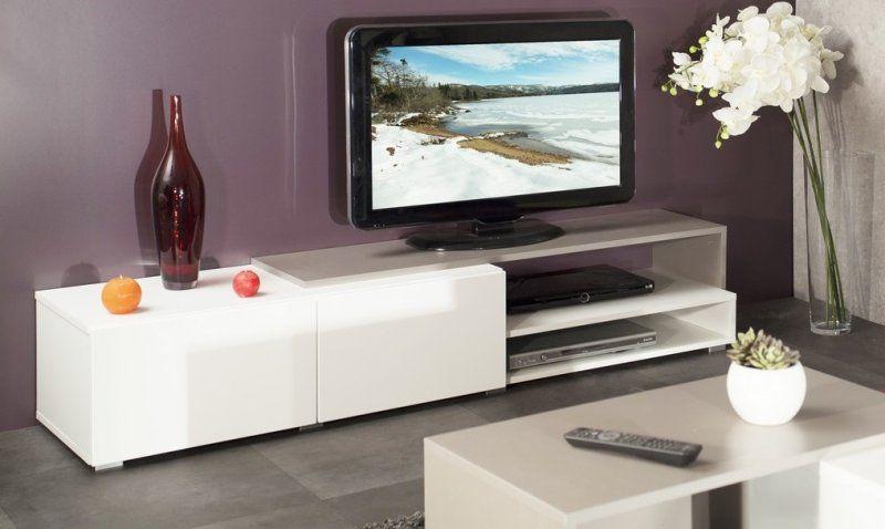 PACIFIC Meuble tv couleur blanc et taupe laqué brillant. grand ...
