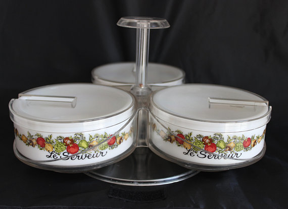 GEMCO Spice of Life Le Serveur Soup Cereal Serving Condiment Bowls with French Lettering Milk Glass Corning Condiments Set of 3