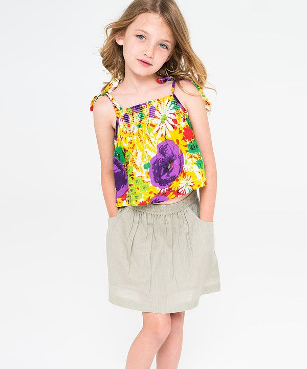 Look at this Purple & Yellow Floral Tank & Skirt - Toddler & Girls on #zulily today!